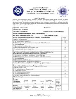 Yeni Öğrenci Anket 2015-2016 - Makine Mühendisliği Bölümü
