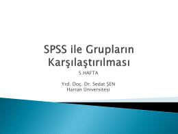 SPSS ile Grupların Karşılaştırılması