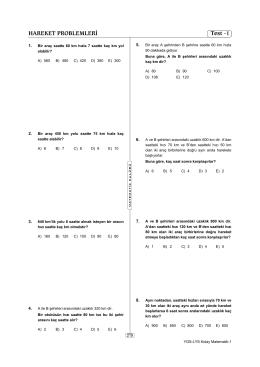 HAREKET PROBLEMLERİ Test -1