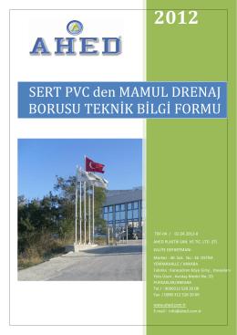 drenaj borusu teknik bilgi formu - AHED Plastik Sanayi ve Ticaret Ltd