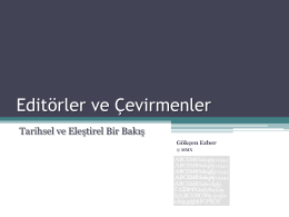 Editorler ve Çevirmenler