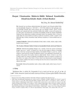Harput Ulemâsından Müderris-Müftü Mehmed Kemâleddin Efendi