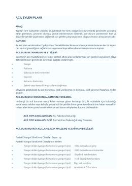 acil eylem planı - Mersin Üniversitesi Tıp Fakültesi