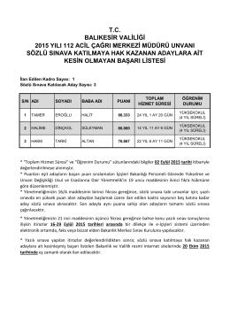 tc balıkesir valiliği 2015 yılı 112 acil çağrı merkezi müdürü unvanı