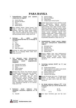 Para ve Banka Çözümlü 203 Soru PDF İNDİR