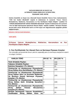 3. Fon Portföyünde Yer Alacak Para ve Sermaye