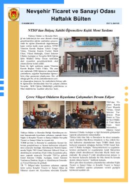 haftalık bülten sayı 83 - Nevşehir Ticaret Odası
