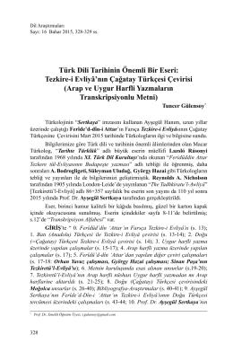 Türk Dili Tarihinin Önemli Bir Eseri: Tezkire-i Evliyâ`nın