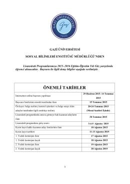ÖNEMLİ TARİHLER - Gazi Üniversitesi
