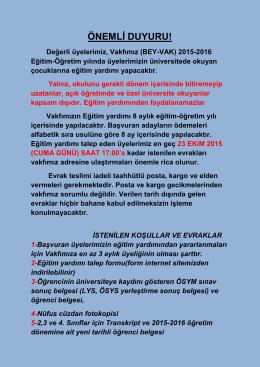 ÖNEMLİ DUYURU! - bey-vak