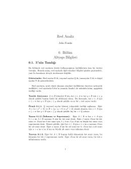 Reel Analiz 0. Bölüm Altyapı Bilgileri