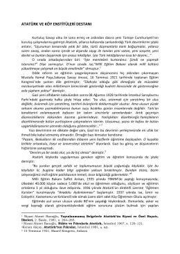 atatürk ve köy enstitüleri destanı