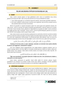 Ev Sohbetleri 79 – İslam Ahlakında Övülen