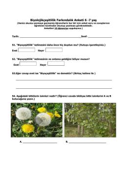 Biyolojikçeşitlilik Farkındalık Anketi 6 -7 yaş