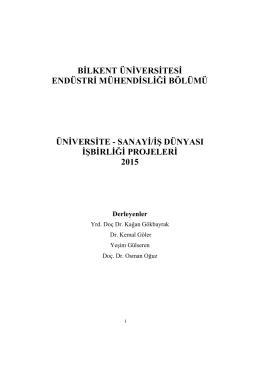 2015 yılı projeleri - Bilkent Üniversitesi Endüstri Mühendisliği