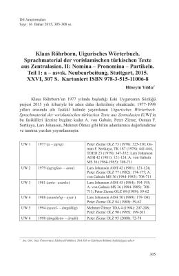Klaus Röhrborn, Uigurisches Wörterbuch. Sprachmaterial der