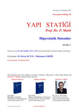 Prof. Dr. P. Marti Hiperstatik Sistemler