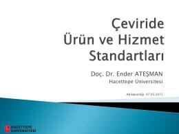 Çeviride Ürün ve Hizmet Standartları