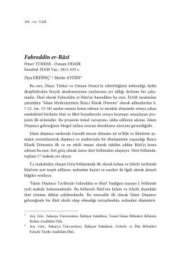 Fahreddin er-Râzî - Usûl İslam Araştırmaları Dergisi