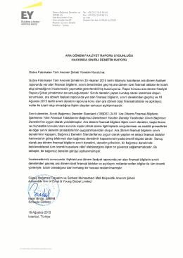 30 Haziran 2015 Yönetim Kurulu Faaliyet Raporu Mali