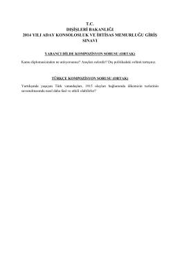 tc dişi̇şleri̇ bakanliği 2014 yili aday konsolosluk ve i̇hti̇sas
