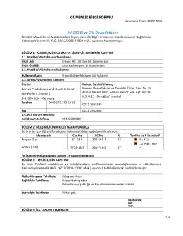 GÜVENLİK BİLGİ FORMU HR130 El ve Cilt Dezenfektanı