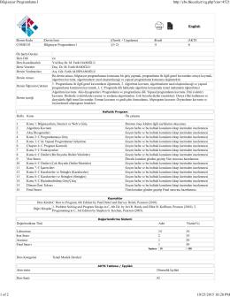 25102015-COME103-Bilgisayar Programlama I