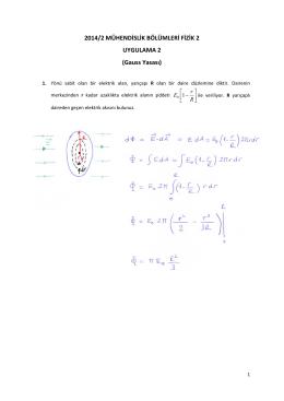 2014/2 MÜHENDİSLİK BÖLÜMLERİ FİZİK 2 UYGULAMA 2 (Gauss