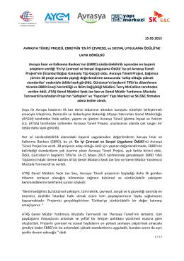 15.05.2015 AVRASYA TÜNELİ PROJESİ, EBRD`NİN