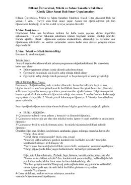 Klasik Gitar Sınav Uygulamaları - bilkent üniversitesi müzik ve sahne