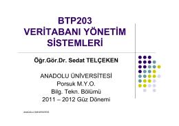 btp203 veritabanı yönetim sistemleri