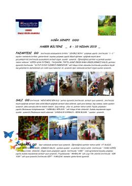 doğa sınıfı haber bülteni _ 6 – 10 nisan 2015