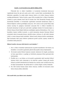 Türk Dermatoloji Derneği Yönetim Kurulundan Basın Yayın