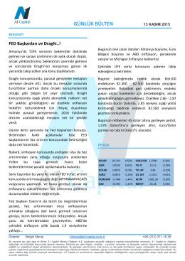 GÜNLÜK BÜLTEN - A1 Capital Yatırım Menkul Değerler