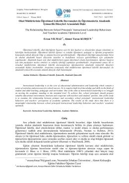 Okul Müdürlerinin Öğretimsel Liderlik Davranışları ile - CYBD-JCAS