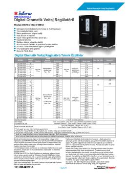 Digital Otomatik Voltaj Regülatörü Teknik Özellikler