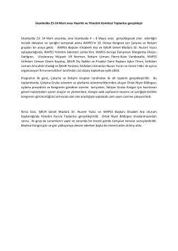 İstanbulda 23-24 Mart arası Hazırlık ve Yönetim Komitesi Toplantısı