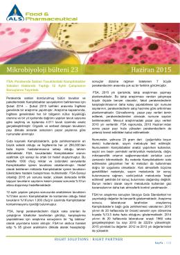 Mikrobiyoloji bülteni 23 Haziran 2015