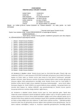 29-06-2015 Tarihli Yönetim Kurulu Kararları