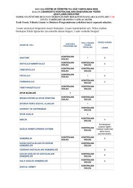 Tezli-Tezsiz Yüksek Lisans ve Doktora Programlarına yedekten kayıt