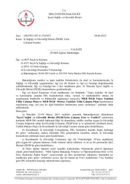 (isgb) ` lerin çalışma esasları 04/06/2015