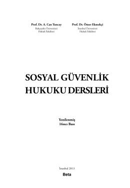 Sosyal Güvenlik Hukuku Dersleri - Bahçeşehir Üniversitesi Hukuk