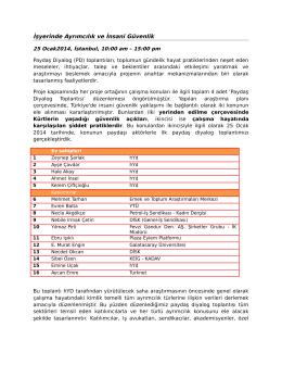 İşyerinde Ayrımcılık ve İnsani Güvenlik Toplantı Notları – 25 Ocak 2014