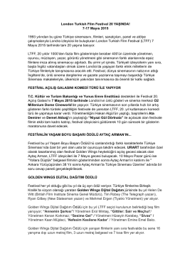 20th LTFF Press Release - TR - London Turkish Film Festival