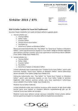Sirküler 2015 / 0X5 Sirküler 2015 / 075