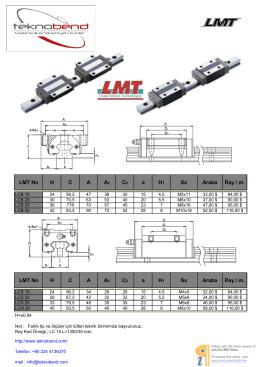 LMT No H C A A2 C2 a H1 Sx Araba Ray / m. LMT No H C A A2 C2