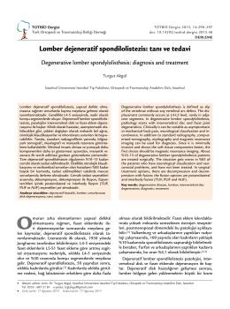 Lomber dejeneratif spondilolistezis: tanı ve tedavi