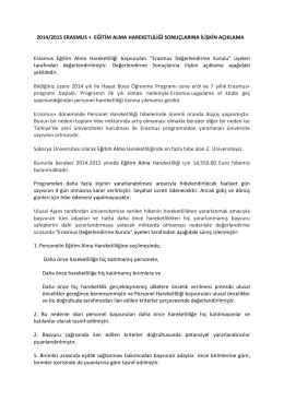 2014/2015 ERASMUS + EĞİTİM ALMA HAREKETLİLİĞİ