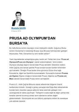 """PRUSA AD OLYMPUM`DAN BURSA`YA"",Yeni"