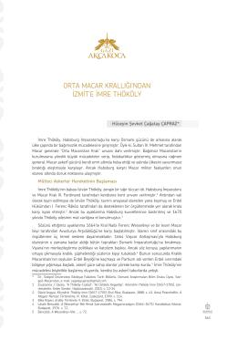 Dr. Hüseyin Şevket Çağatay ÇAPRAZ-Orta Macar Krallığından İzmit